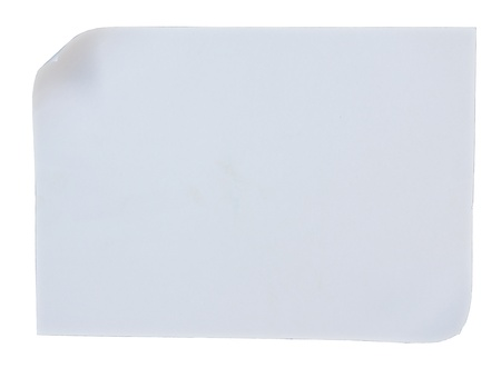 Empty white paper with curl on white background photo