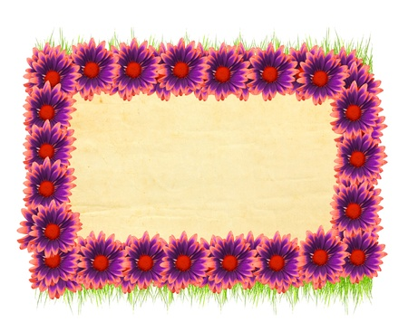 flowered: Flowered frame with old paper background