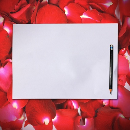 Blank white paper with pencil on red rose petals background photo