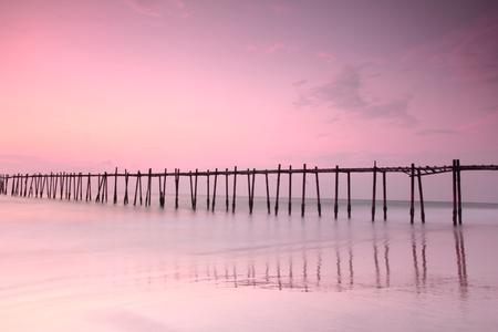 Wood bridge at sunset Stock Photo - 13009369