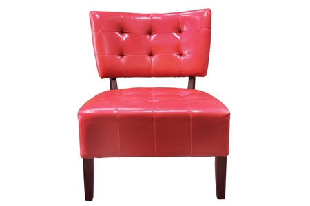 vintage red armchair on white background  Stock Photo