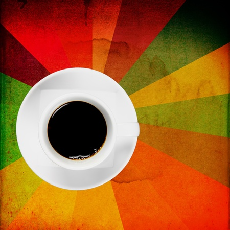 Black coffee in white cup on grunge wall for background photo