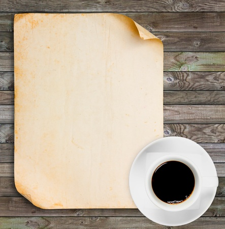 antiqued: Vintage paper with Black coffee on wood panels background