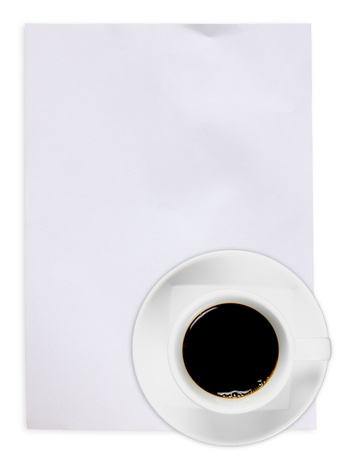 White paper with black coffee  photo