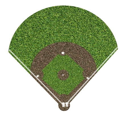 hitter: Baseball field on white background