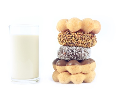 Donut with glass of milk on white background Stock Photo - 13655060