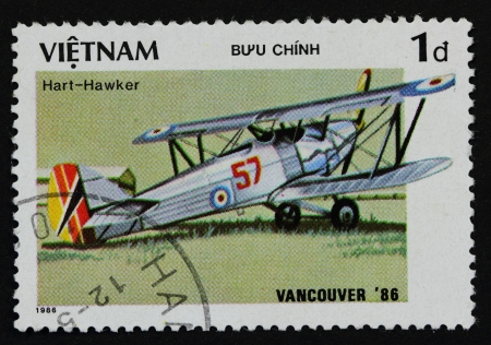 VIETNAV - CIRCA 1986 A stam printed in Vietnam shows aircraft, Hart-Hawker, circa 1986 photo