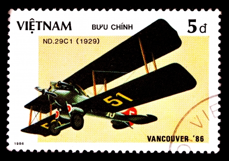 VIETNAM - CIRCA 1986  A stamp printed by VIETNAM shows military aircraft   ND  29C1  Circa 1986 photo