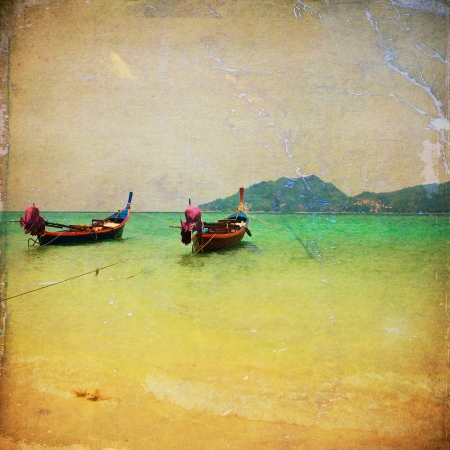 old photograph: Retro beach with long Tail boat for background Stock Photo