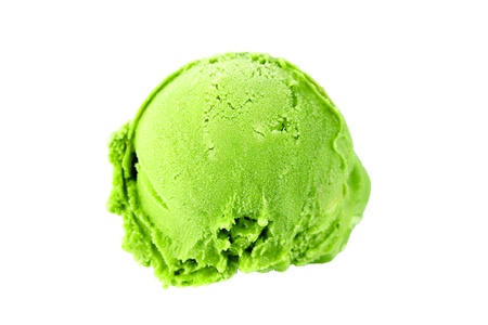 Scoop of green tea ice cream on white background photo