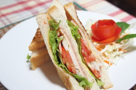 Sandwich ham and cheese on dish photo