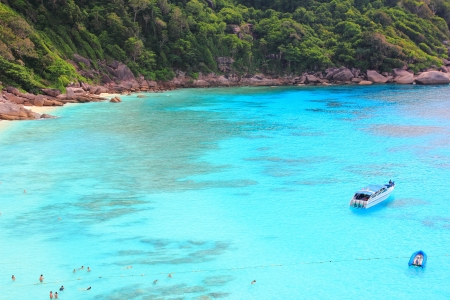 Blue sea with tourist in Similan island Phang-Nga South of Thailand Stock Photo - 16515338