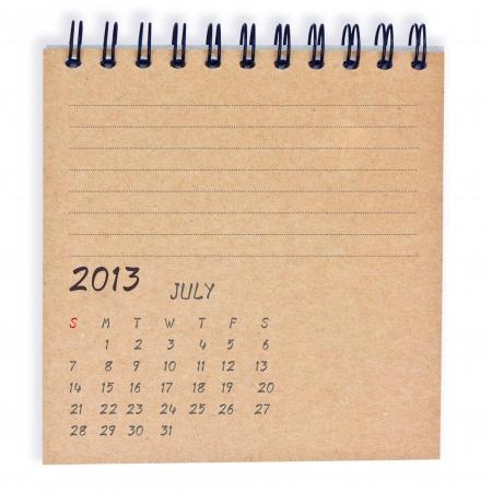 july2013 Calendar, on recyle notebook paper photo