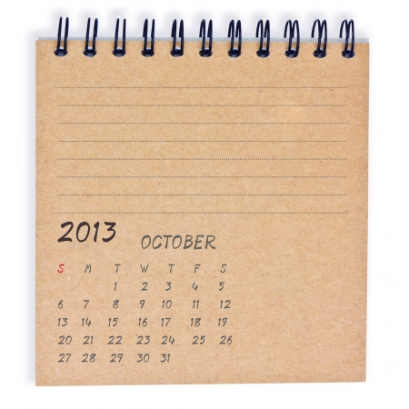 October 2013 Calendar, on recyle notebook paper