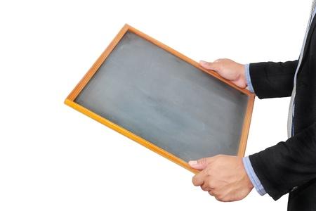 Businessman holding empty chalkboard on white background Stock Photo - 16842864