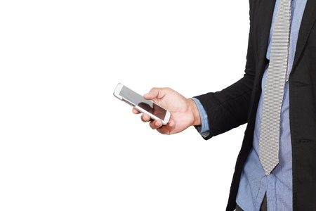 Businessman checking mail on smart phone on white, with clipping path Stock Photo - 16842876