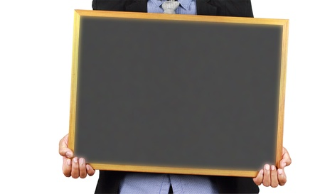 Business man holding empty chockboard on white background, clipping paths Stock Photo - 16842849