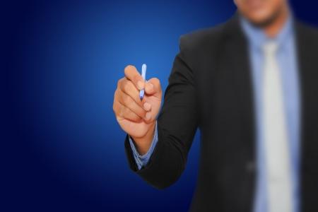 Businessman write on touchscreen Stock Photo - 16842754