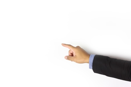 Businessman hand pointing on white background Stock Photo - 17115268