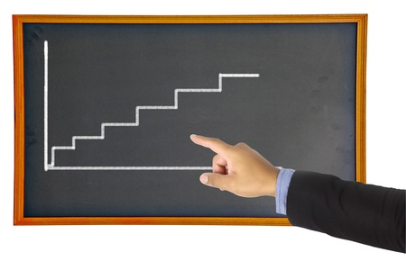 Businessman hand pointing graph on chalkboard Stock Photo - 17115300