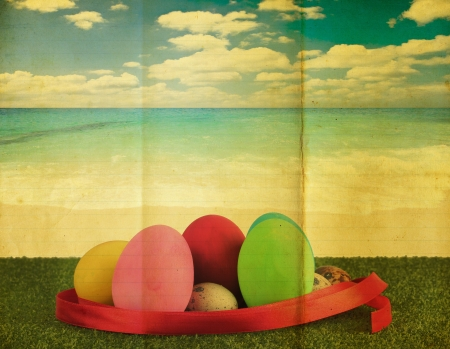 greenfield: Ester eggs with retro background Stock Photo