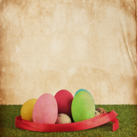 greenfield: Ester egg on Vintage paper texture for background Stock Photo