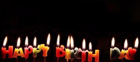 happy birthday candles: Buring Happy birthday candles