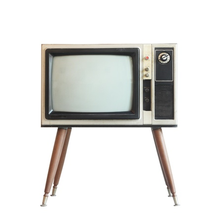 screen tv: Vintage television isolated with clipping path Stock Photo