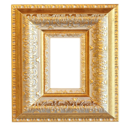Vintage gooden wood photo frame, clipping path photo