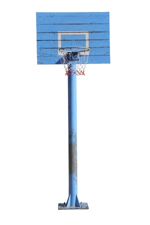 Basketball hoop on white background photo