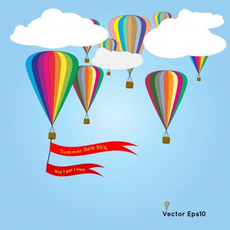 hot air: Hot air balloon with summer sale flag