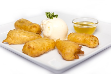 fried banana fritters with cie cream photo