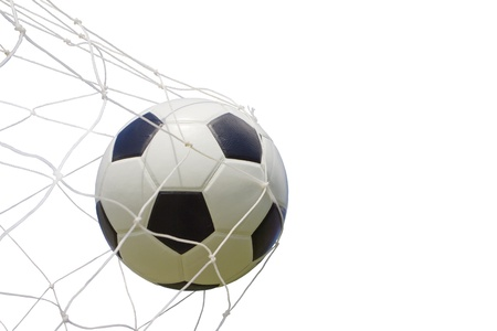 soccer ball in net on white photo