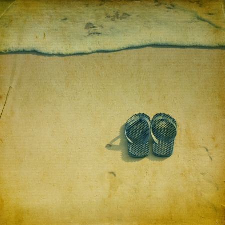 sandles: Retro beach and sea wave with flipflops for background Stock Photo