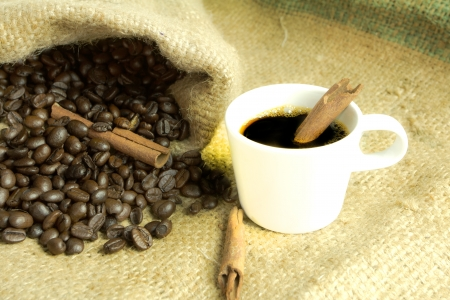 Coffee beans on vintage background  photo