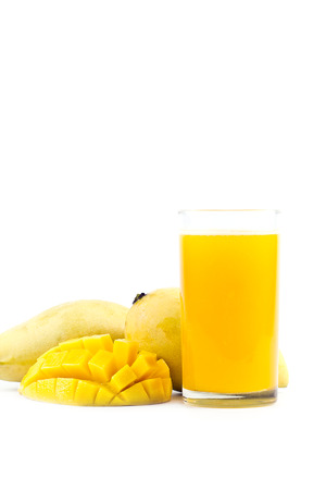 Mango Juice with mango fruit on white background Stock Photo