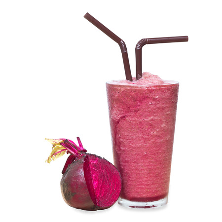 Smoothie Beetroot juice, Healthy drink on white background with clipping path