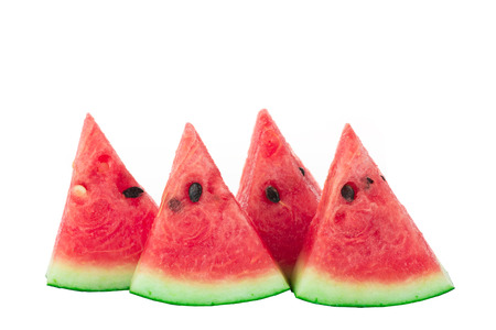 Sweet watermelon slices isolated on white  Stock Photo