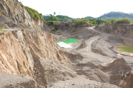 sulfide: Blue lake in mining industrial crater
