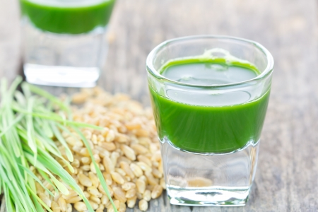 Wheat grass juice with fresh wheat grass and wheat on white background Stock Photo