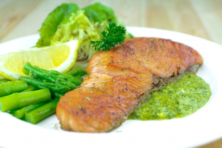 Grilled salmon with Salsa Verda, asparagus  photo