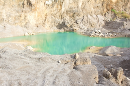 Blue lake in mining industrial  photo