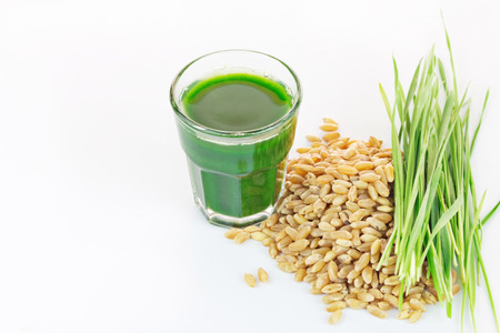 Wheat grass juice with fresh wheat grass and wheat on white background
