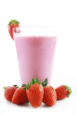 Fresh strawberry fruits and smoothies on white  photo