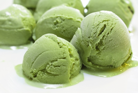 cream tea: Home Made Green tea ice cream  Stock Photo
