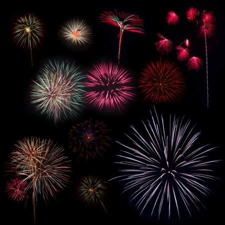 Collection of Multi Colored Fireworks on a Black  photo