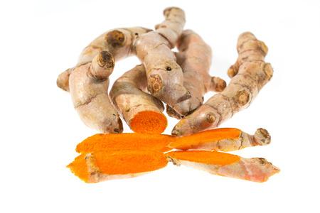 curcumin: Fresh turmeric on white background Stock Photo
