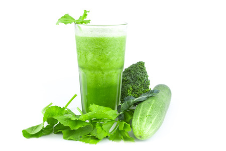 Smoothie juice and healthy drink on white background Stock Photo