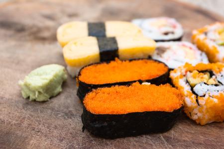 close up food: Close up fresh sushi traditional japanese food