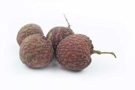 leechee: Fresh lychees Thai fruit on white background Stock Photo